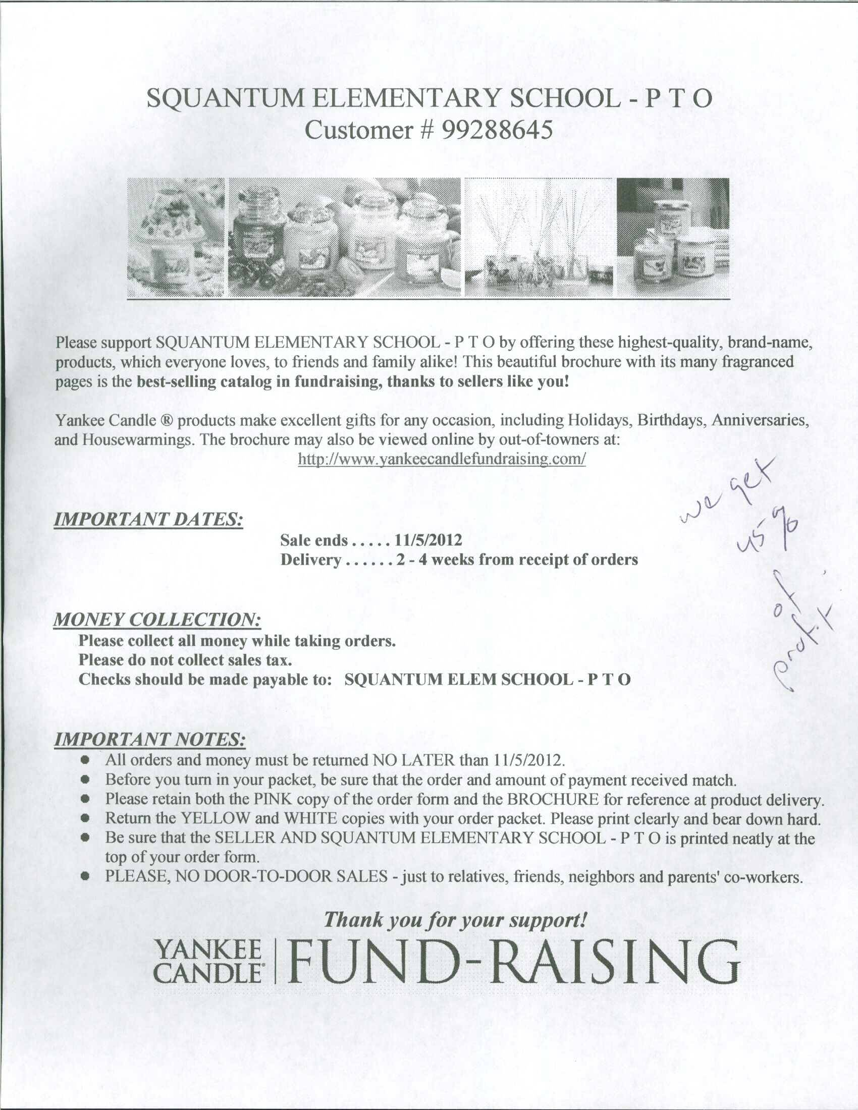 Yankee Candle Fundraiser | Squantum School PTO