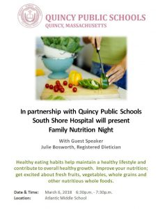 QPS Family Nutrition Night 3/6/18 6:30-7:30 Atlantic Middle School